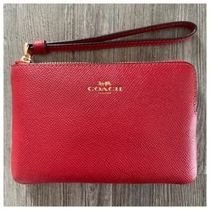 NWT Coach Red Leather Wristlet Wallet